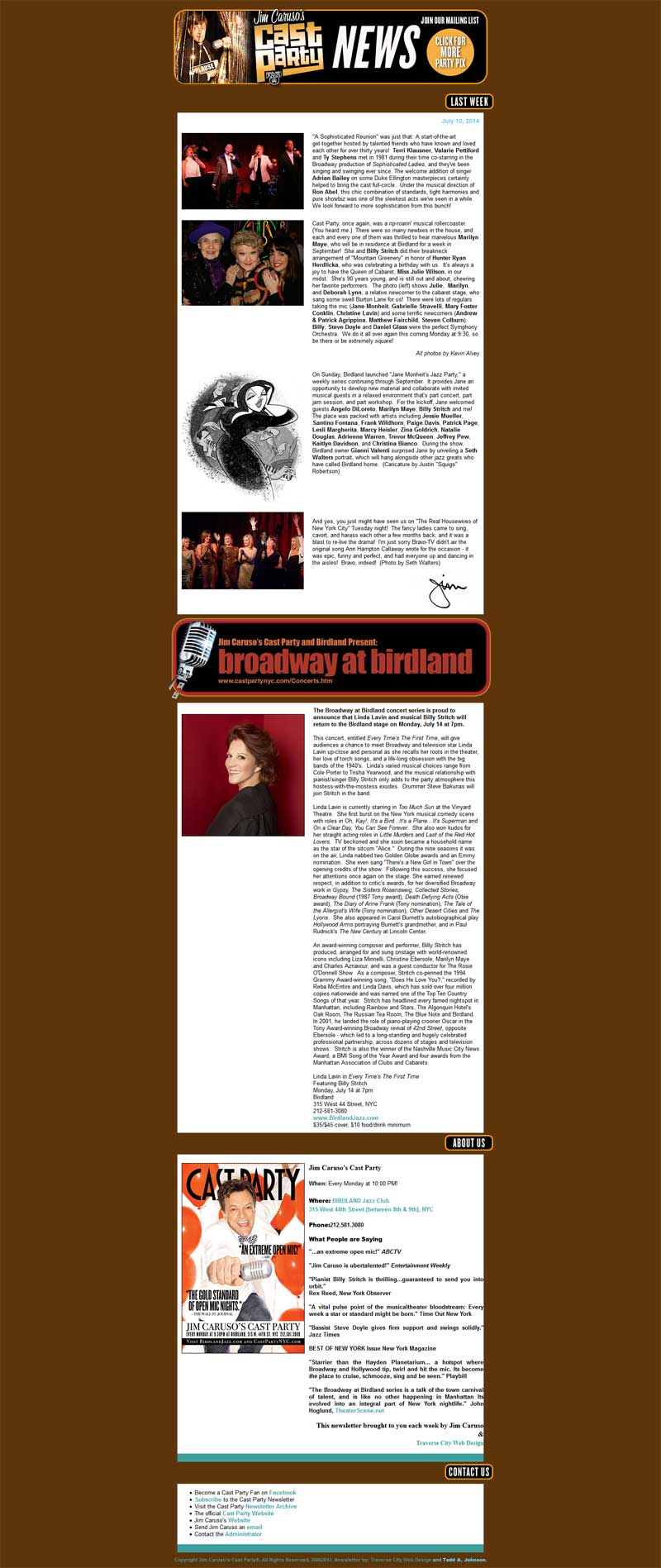 Web Design Portfolio | Birdland Jazz Club E-Mail Marketing