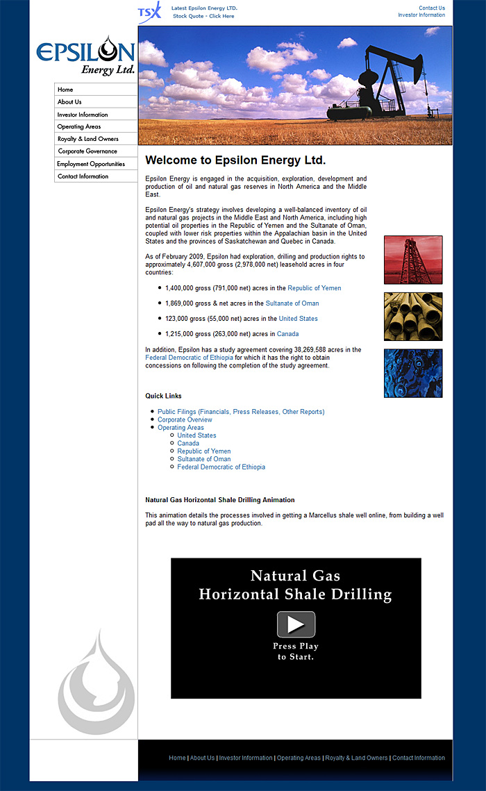 Web Design Portfolio | Epsilon Energy