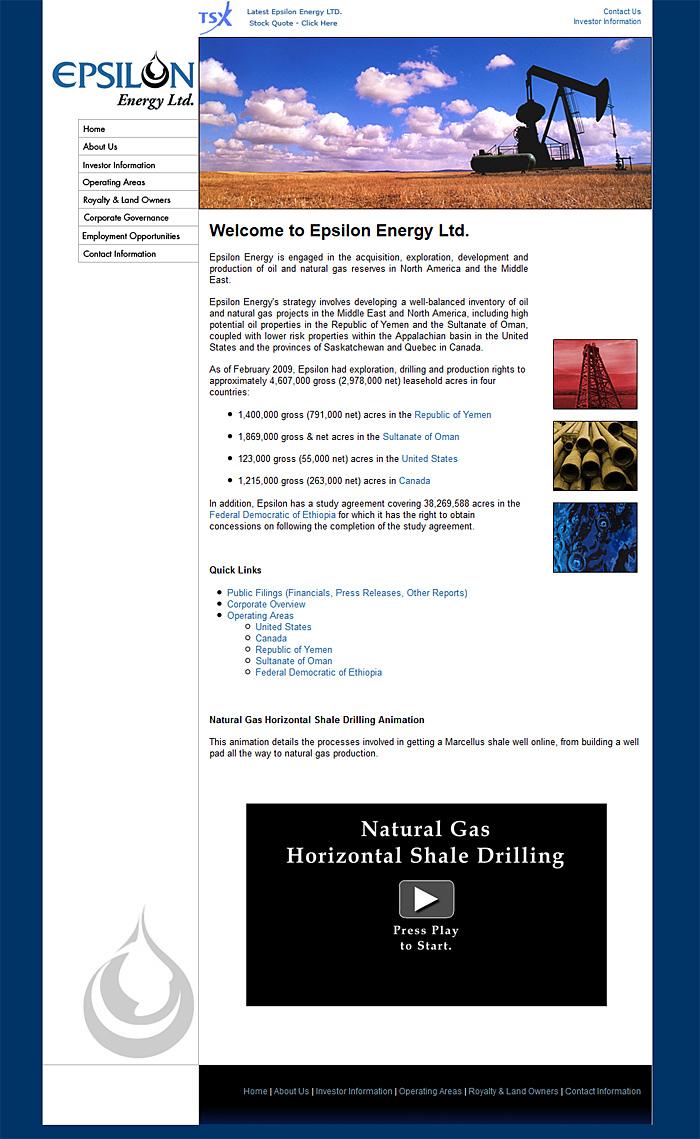 Web Design Portfolio | Epsilon Energy -