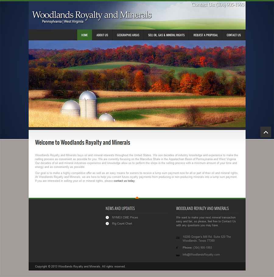 Web Design Portfolio | Woodlands Royalty and Minerals