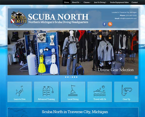 Michigan Web Design: Scuba North website design by Traverse City Web Design