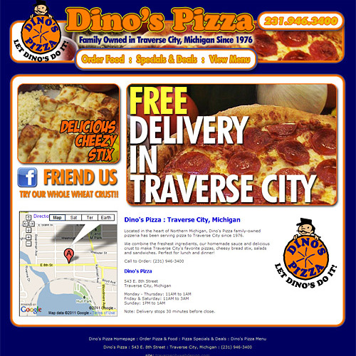 Web Design Portfolio | Dino's Pizza