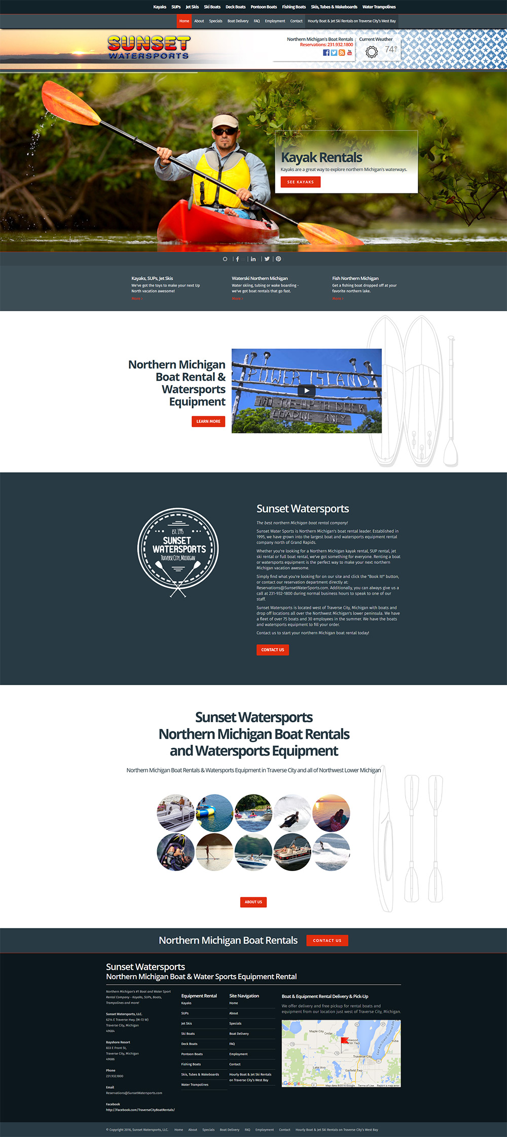 Northern Michigan Web Design - Sunset Watersport by Traverse City Web Design, LLC.